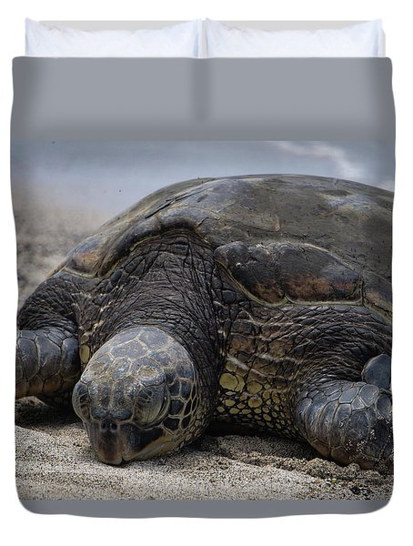 Duvet Cover featuring the photograph Turtle Up Close by Pamela Walton