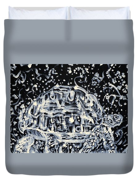 Duvet Cover featuring the painting Turtle Walking Under A Starry Sky by Fabrizio Cassetta
