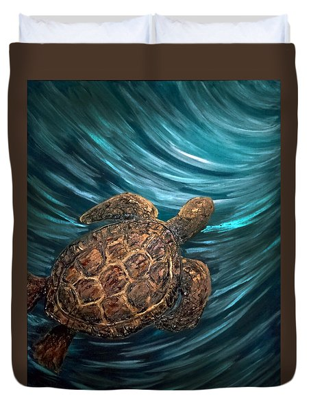 Turtle Wave Deep Blue Duvet Cover