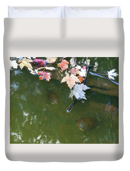 Duvet Cover featuring the photograph Turtles And Leaves In The Water by Irina Sztukowski