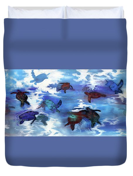 Turtles In Heaven Duvet Cover by Darren Mulvenna