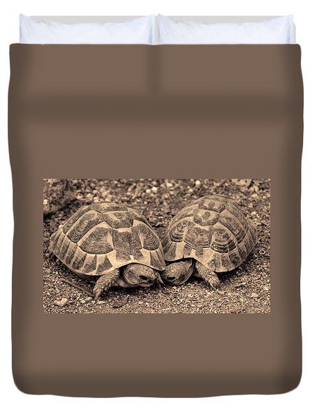 Duvet Cover featuring the photograph Turtles Pair by Gina Dsgn