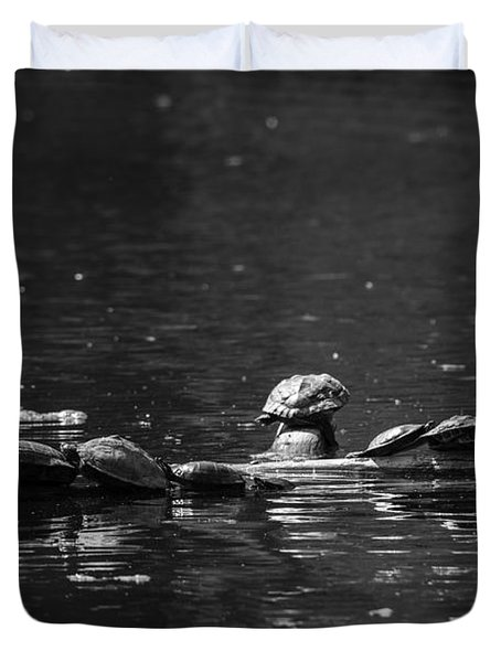 Duvet Cover featuring the photograph Turtles Sunning by JT Lewis