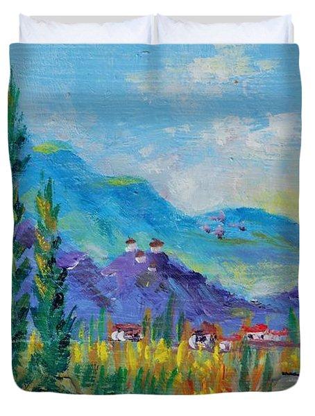 Duvet Cover featuring the painting Tuscan Farm Miniature by Lou Ann Bagnall