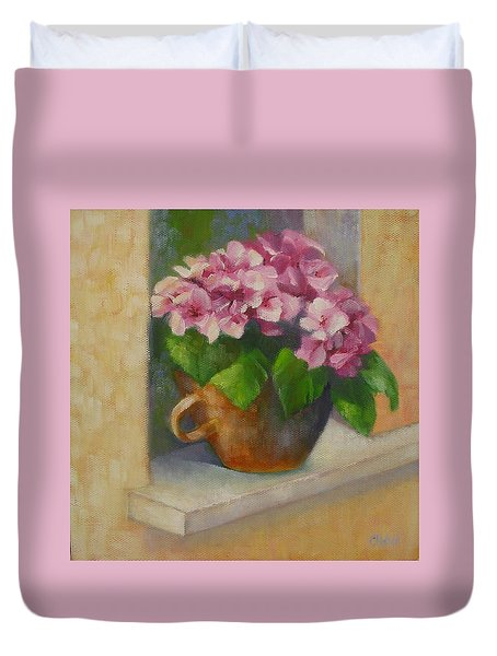 Tuscan Flower Pot Oil Painting Duvet Cover by Chris Hobel