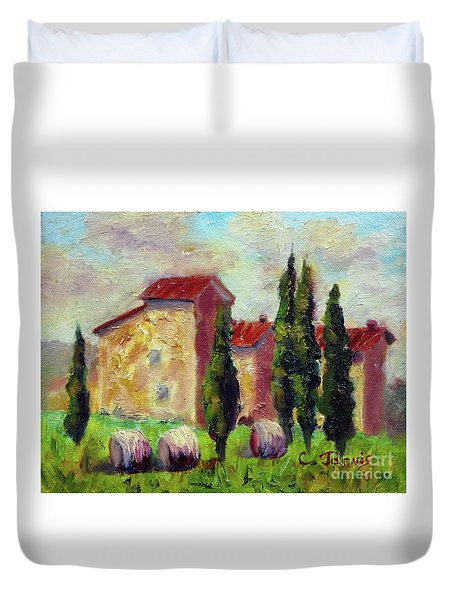 Tuscan House With Hay Duvet Cover