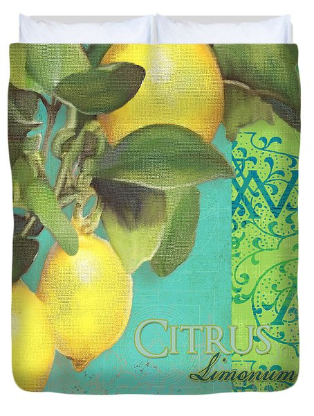 Tuscan Lemon Tree - Citrus Limonum Damask Duvet Cover