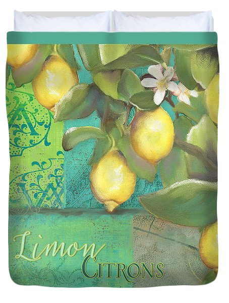 Tuscan Lemon Tree - Damask Pattern 2 Duvet Cover