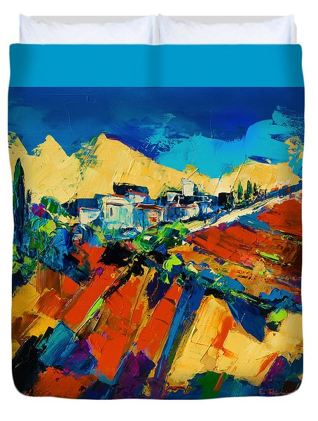 Duvet Cover featuring the painting Tuscan Light by Elise Palmigiani