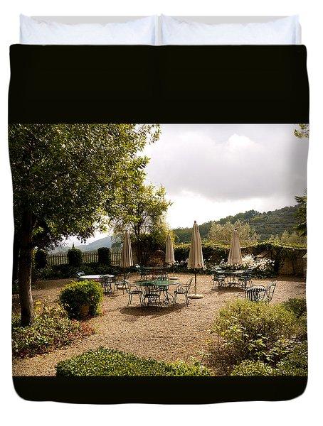 Tuscan Patio Duvet Cover by Rae Tucker