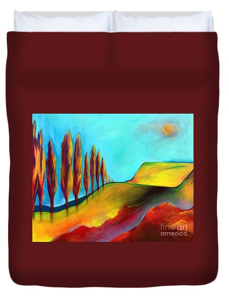 Duvet Cover featuring the painting Tuscan Sentinels by Elizabeth Fontaine-Barr