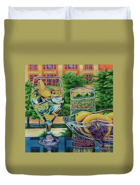 Duvet Cover featuring the drawing Tuscan Summer Lemonade  by Peter Piatt