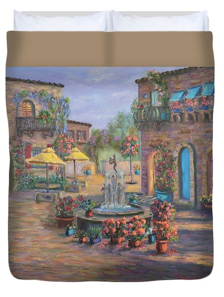 Beautiful Tuscan Villa Flower Garden Fountain Painting Duvet Cover