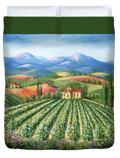 Tuscan Vineyard And Abbey Duvet Cover by Marilyn Dunlap