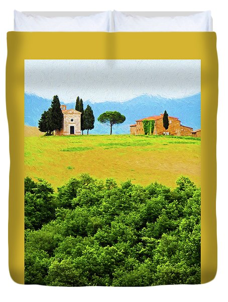 Tuscany Chapel And Farmhouse Duvet Cover by Dennis Cox