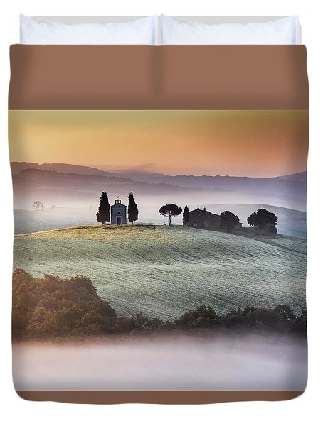 Tuscany Church On The Hill Duvet Cover by Evgeni Dinev
