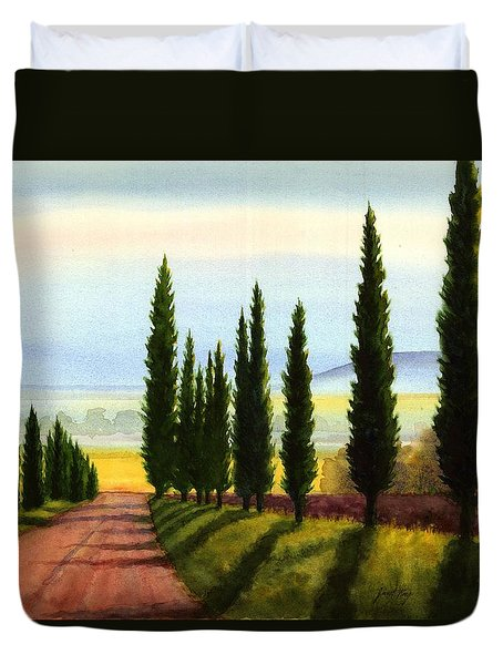 Tuscany Cypress Trees Duvet Cover