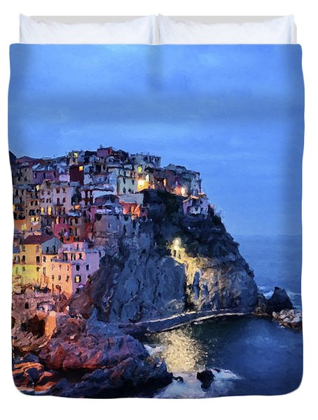 Tuscany Like Amalfi Cinque Terre Evening Lights Duvet Cover