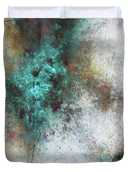 Duvet Cover featuring the mixed media Tuscany Oil And Cold Wax by Patricia Lintner