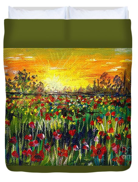 Duvet Cover featuring the painting Tuscany Ryans View by Lou Ann Bagnall