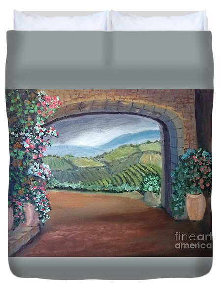 Tuscany Vineyards Through The Archway Duvet Cover