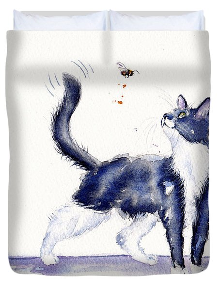 Tuxedo Cat And Bumble Bee Duvet Cover