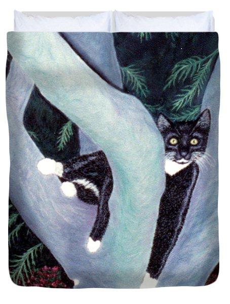 Tuxedo Cat In Mimosa Tree Duvet Cover