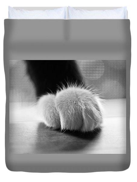 Tuxedo Cat Paw Black And White Duvet Cover