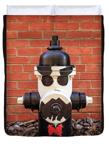 Duvet Cover featuring the photograph Tuxedo Hydrant by James Eddy