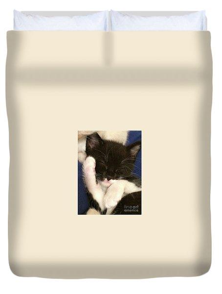 Tuxedo Kitten Snoozing Duvet Cover