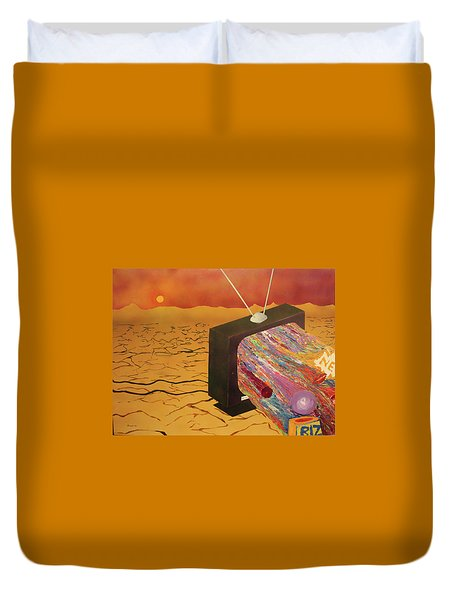 Duvet Cover featuring the painting Tv Wasteland by Thomas Blood