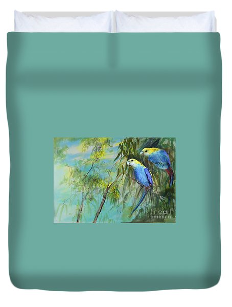 Two Pale-faced Rosellas Duvet Cover