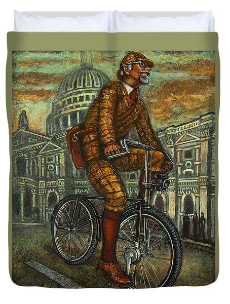 Duvet Cover featuring the painting Tweed Run Gentleman In Brown Passing St Pauls by Mark Howard Jones