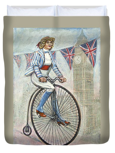 Duvet Cover featuring the painting Tweed Run Lady In Blue On Penny Farthing  by Mark Howard Jones