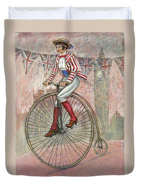 Duvet Cover featuring the painting Tweed Run Lady In Pink  by Mark Howard Jones