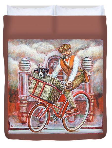 Tweed Runner On Red Pashley Duvet Cover by Mark Jones