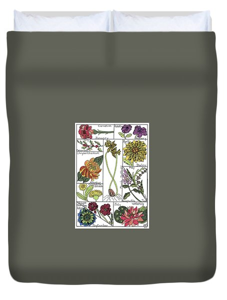 Twelve Month Flower Box Duvet Cover