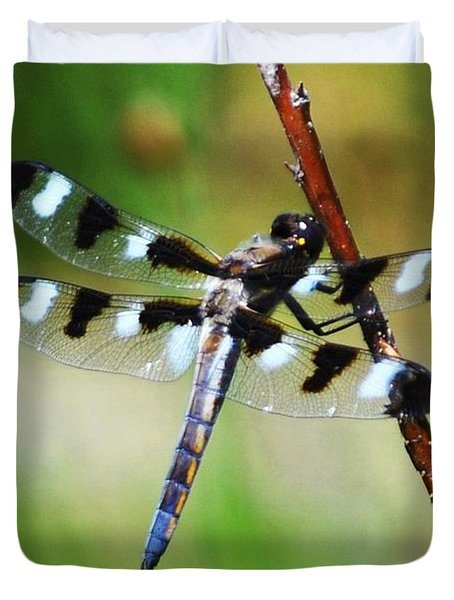 Duvet Cover featuring the photograph Twelve Spotted Skimmer by Rodney Campbell
