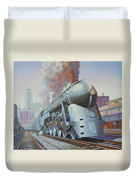 Duvet Cover featuring the painting Twenthieth Century Limited by Mike Jeffries