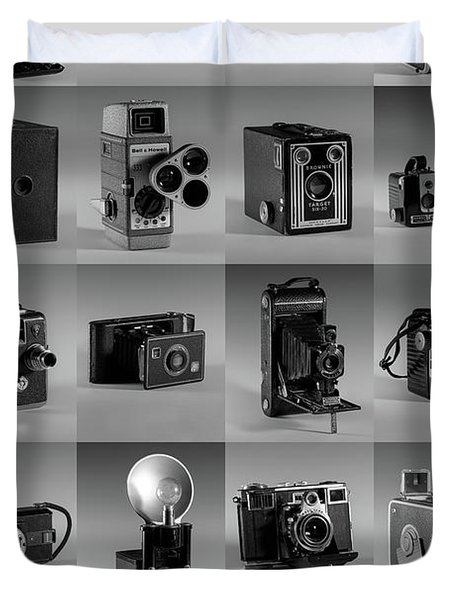 Twenty Old Cameras - Black And White Duvet Cover