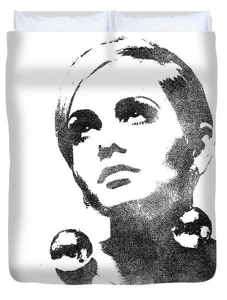 Twiggy Bw Portrait Duvet Cover by Mihaela Pater