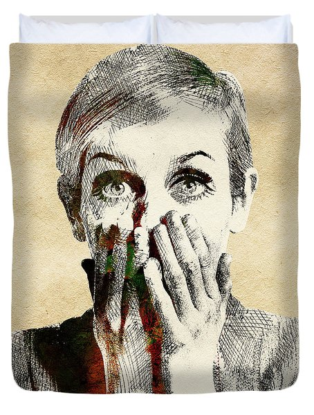 Twiggy Surprised Duvet Cover by Mihaela Pater