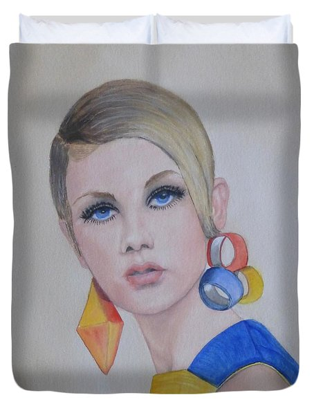 Twiggy The 60's Fashion Icon Duvet Cover