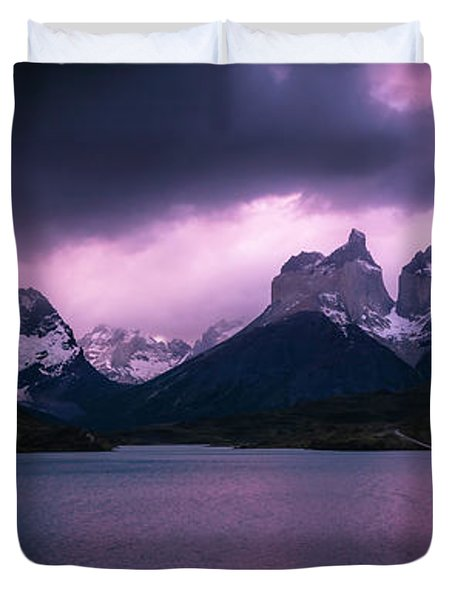 Twilight Over The Lake Duvet Cover by Andrew Matwijec