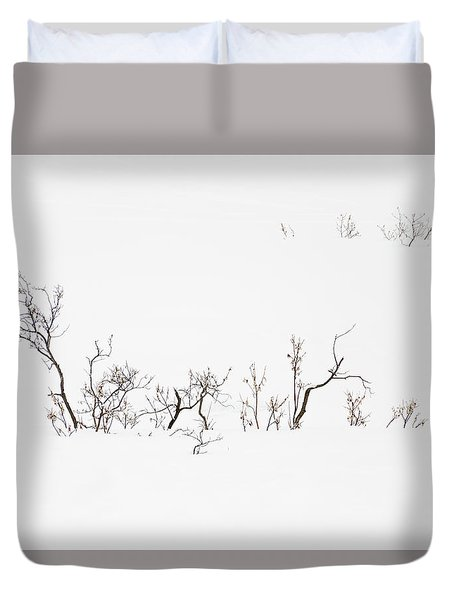 Twigs In Snow Duvet Cover