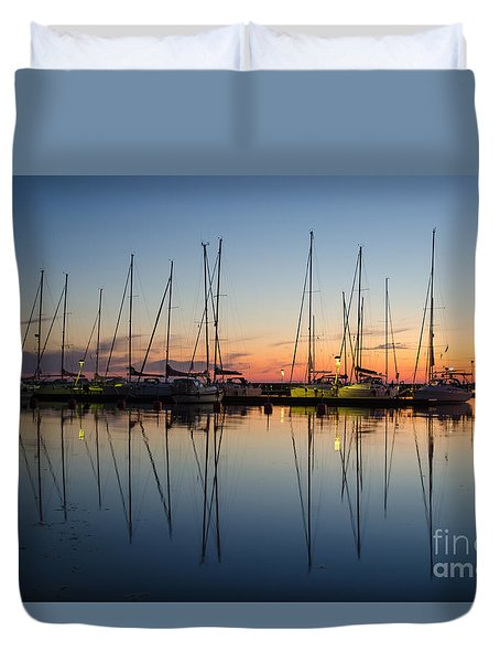 Twilight At A Small Harbor Duvet Cover