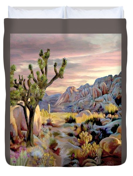Twilight At Joshua   Vert. Duvet Cover