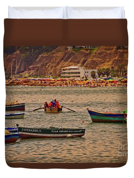 Duvet Cover featuring the photograph Twilight At The Beach, Miraflores, Peru by Mary Machare
