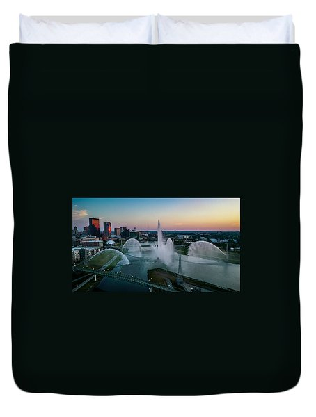 Twilight At The Fountains Duvet Cover