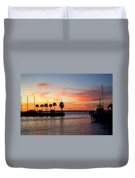 Twilight At The Marina Duvet Cover